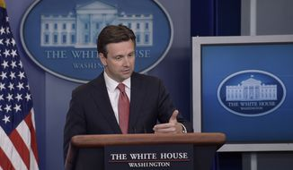 White House press secretary Josh Earnest speaks during the daily briefing at the White House in Washington, Friday, Aug. 26, 2016. Earnest answered questions about the election, Iran, and other topics. (AP Photo/Susan Walsh)