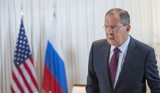 Russian Foreign Minister Sergei Lavrov, arrives for a bilateral meeting  in Geneva, Switzerland, Friday, Aug. 26, 2016. The U.S. and Russia renewed efforts to secure a military and humanitarian cooperation agreement for war-torn Syria as conditions on the ground continued to deteriorate after months of hesitation, missed deadlines and failed attempts to forge a nationwide truce. (Martial Trezzini/Pool Photo via AP)
