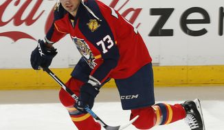 FILE - In this April 11, 2015, file photo, Florida Panthers forward Brandon Pirri (73) skates prior to the NHL hockey game against the New Jersey Devils, in Sunrise, Fla. The New York Rangers have agreed to terms with forward Brandon Pirri on a $1.1 million, one-year deal. The 25-year-old Pirri spent last season with the Florida Panthers and Anaheim Ducks, recording 14 goals and 15 assists in 61 games.  (AP Photo/Joel Auerbach, File)