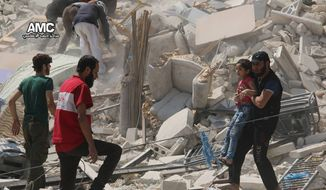 This photo provided by the Syrian anti-government activist group Aleppo Media Center (AMC), shows a Syrian man carrying a girl away from the rubble of a destroyed building after barrel bombs were dropped on the Bab al-Nairab neighborhood in Aleppo, Syria, Saturday, Aug. 27, 2016. Syria activists said, at least 15 civilians have been killed when suspected government helicopters dropped barrel bombs on a wake for children killed in earlier airstrikes in rebel-held Aleppo. (Aleppo Media Center via AP)