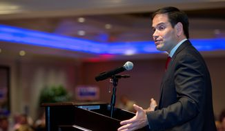 Sen. Marco Rubio has voiced support for Republican presidential nominee Donald Trump, but he makes it apparent to voters in Florida when he thinks the party leader crosses the line. (Associated Press) ** FILE **