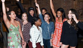 """Members of the so-called Final Five, U.S. women's gymnastics team, Madison Kocian, Simone Biles, Gabby Douglas, Laurie Hernandez, and Aly Raisman pose with """"Hamilton"""" actors who play the Schuyler sisters, Jasmine Cephas Jones, Lexi Lawson and Renee Elise Goldsberry backstage after attending the performance at the Richard Rogers Theatre on Tuesday, Aug. 23, 2016, in New York. (Photo by Evan Agostini/Invision/AP)"""