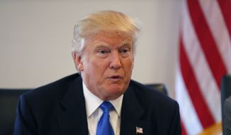 Republican presidential candidate Donald Trump holds a roundtable meeting with the Republican Leadership Initiative in his offices at Trump Tower in New York on Aug. 25, 2016. (Associated Press) **FILE**