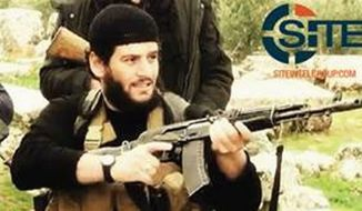 "The Islamic State-run Aamaq news agency said Abu Muhammad al-Adnani was ""martyred while surveying the operations to repel the military campaigns against Aleppo."" (Associated Press)"