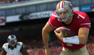 "NFL quarterback Colin Kaepernick's national anthem protest will make it into the long-running ""Madden"" video game by EA Sports. (EA Sports screenshot)"
