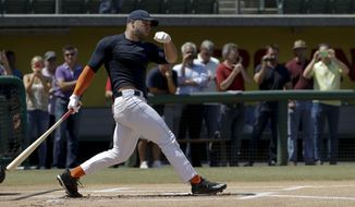 Former NFL quarterback, Tim Tebow hits during batting practice for baseball scouts and the media during a showcase on the campus of the University of Southern California, Tuesday, Aug. 30, 2016 in Los Angeles. The Heisman Trophy winner works out for a big gathering of scouts on USC's campus in an attempt to start a career in a sport he hasn't played regularly since high school. (AP Photo/Chris Carlson)