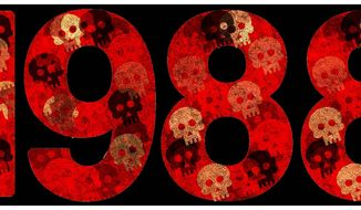 Illustration on the 1988 massacre of 30,000 in Iran by Alexander Hunter/The Washington Times