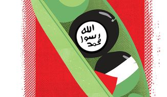 Illustration on ISIS and the Palestinians by Linas GArsys/The Washington Times