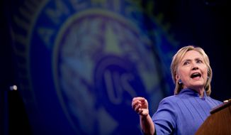 Democratic presidential candidate Hillary Clinton speaks at the American Legion's 98th Annual Convention at the Duke Energy Convention Center in Cincinnati, Ohio, Wednesday, Aug. 31, 2016. (AP Photo/Andrew Harnik)