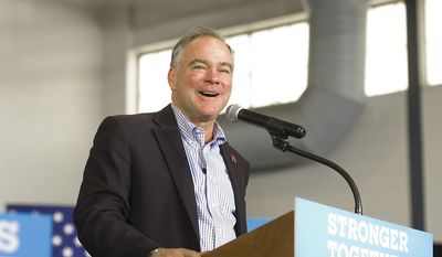 Democratic vice presidential candidate Sen. Tim Kaine, D-Va., speaks during a rally at the Hanover Township Community Center on Wednesday, Aug. 31, 2016, in Bethlehem, Pa. (Harry Fisher/The Morning Call via AP)
