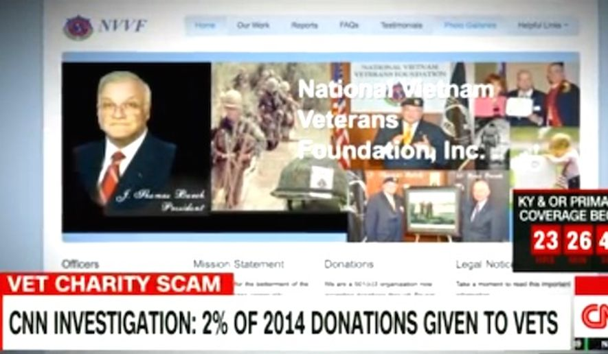 The National Vietnam Veterans Foundation, a zero-rated charity, is officially closing after an investigation into its finances by CNN in May. (CNN screenshot)