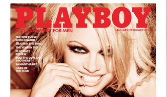"Pamela Anderson's official Twitter account promoting a signed and personalized copy of her last naked centerfold in Playboy. In the September 1 Wall Street Journal, Ms. Anderson and Rabbi Shmuley Boteach denounced pornography in an op-ed titled, ""Take the Pledge: No More Indulging Porn."""