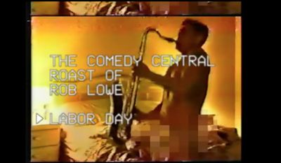 Rob Lowe in a promo video for his Comedy Central Roast, which will air on Labor Day 2016. The promo video parodies a 1988 sex tape of Mr. Lowe.