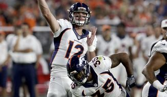 Denver Broncos quarterback Paxton Lynch (12) throws against the Arizona Cardinals during the first half of an NFL preseason football game, Thursday, Sept. 1, 2016, in Glendale, Ariz. (AP Photo/Rick Scuteri)