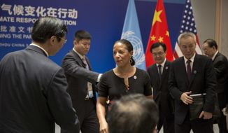 U.S. National Security Adviser Susan Rice, center, arrives for a climate event with U.S. President Barack Obama, Chinese President Xi Jinping, and United Nations Secretary-General Ban Ki-moon at the Ruyi Hall at West Lake State Guest House in Hangzhou in eastern China's Zhejiang province, Saturday, Sept. 3, 2016. (AP Photo/Carolyn Kaster)