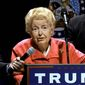 Conservative icon Phyllis Schlafly appears at a Donald Trump rally in Missouri earlier this year. (associated press)