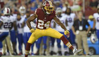 Washington Redskins defensive back Josh Norman reacts during the first half of an NFL preseason football game against the Buffalo Bills Friday, Aug. 26, 2016, in Landover, Md. (AP Photo/Nick Wass)