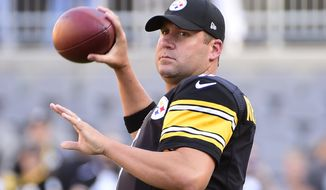 FILE - In this Aug. 18, 2016, file photo, Pittsburgh Steelers quarterback Ben Roethlisberger warms up prior to an NFL preseason football game against the Philadelphia Eagles, in Pittsburgh. The script has flipped in Pittsburgh. Completely.  The franchise that spent the better part of four decades relying heavily on its defense to fill the display inside the teams headquarters stacked with Lombardi Trophies has its eyes set on adding a seventh next February. Its just that the path the Steelers plan on taking to get there has changed entirely. (AP Photo/Fred Vuich, File)