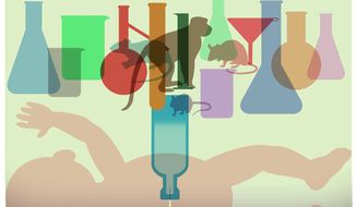 Illustration on animal testing of medicines by Alexander Hunter/The Washington Times