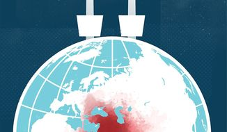 Illustration on world changes since 9/11 by Linas Garsys/The Washington Times