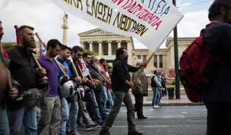 Much of Greek economic policy over the past 30 years was shaped by the country's prestigious academic institutions, but that didn't stop the country from falling into economic stagnation, which led to protests at the Athens Academy in the spring. (ASSOCIATED PRESS PHOTOGRAPHS)