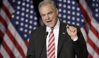 Democratic vice presidential candidate, Sen. Tim Kaine, D-Va., speaks during a campaign rally in Wilmington, N.C., Tuesday, Sept. 6, 2016. (AP Photo/Chuck Burton)