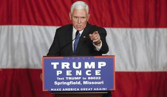 Republican vice presidential candidate Mike Pence speaks during a town hall meeting at the Springfield Exposition Center in Springfield, Mo., on Tuesday, Sept. 6, 2016. (Andrew Jansen/The Springfield News-Leader via AP)