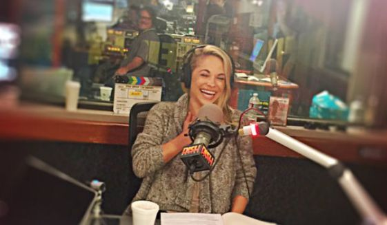 """Playboy Playmate Dani Mathers as pictured in a May 16, 2016 tweet for the """"Heidi and Frank"""" show on KLOS. Ms. Mathers was fired from the radio program in July after body-shaming a naked woman in her gym's locker room by posting a photo of her to Snapchat."""