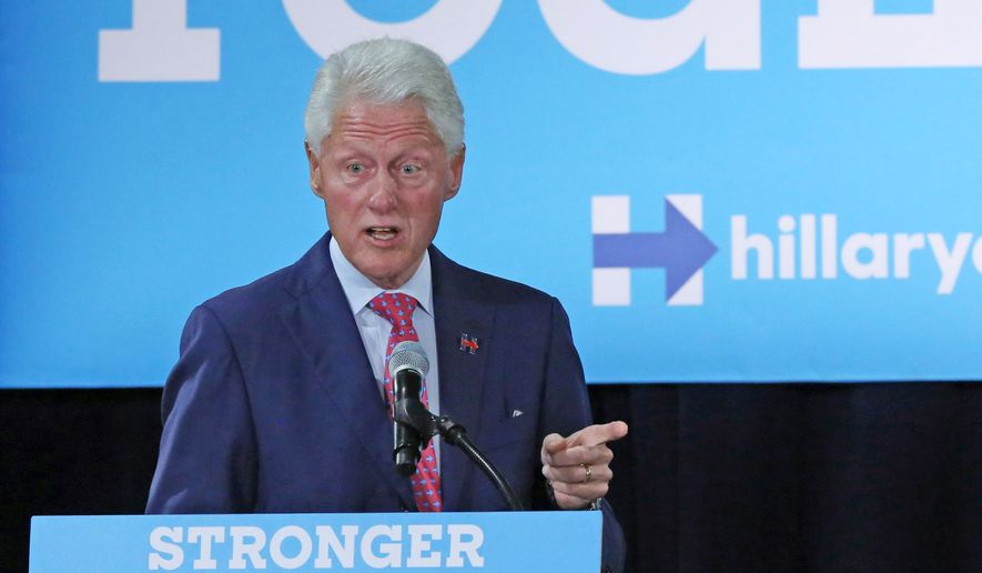 Former President Bill Clinton campaigns for his wife, Democratic presidential candidate Hillary Clinton, Wednesday, Sept. 7, 2016, at Dr. James R. Smith Neighborhood Center in Orlando, Fla.  (Red Huber/Orlando Sentinel via AP) ** FILE **