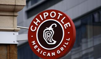 A sign for the Chipotle restaurant in Pittsburgh's Market Square. (AP Photo/Keith Srakocic, File) **FILE**