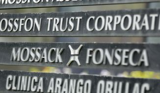 In this Monday, April 4, 2016 file photo, a marquee of the Arango Orillac Building lists the Mossack Fonseca law firm, in Panama City. Denmark will buy leaked data from a Panamanian law firm that helped customers open offshore companies to avoid paying taxes, the Scandinavian country's taxation minister said Wednesday, Sept 7, 2016. (AP Photo/Arnulfo Franco, File)