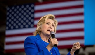 Democratic presidential candidate Hillary Clinton speaks at a rally at Johnson C. Smith University in Charlotte, N.C., Thursday, Sept. 8, 2016. (AP Photo/Andrew Harnik)