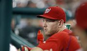Washington Nationals starting pitcher Stephen Strasburg pauses in the dugout during a baseball game against the Philadelphia Phillies at Nationals Park, Thursday, Sept. 8, 2016, in Washington. Strasburg left Wednesday's game with an injury. The Phillies won 4-1. (AP Photo/Alex Brandon) **FILE**