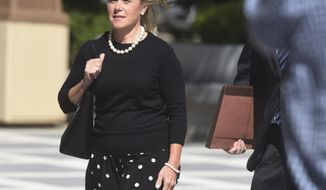 Bridget Kelly enters the federal courthouse Wednesday, Sept. 7, 2016 in Newark, N.J. Prosecutors in the George Washington Bridge lane-closing case against Bridget Kelly and Bill Baroni, two former allies of New Jersey Republican Gov. Chris Christie won an early victory Wednesday when a judge ruled they can seek to show the defendants engaged in a pattern of heavy-handed tactics against political foes.(Chris Pedota/The Record via AP)