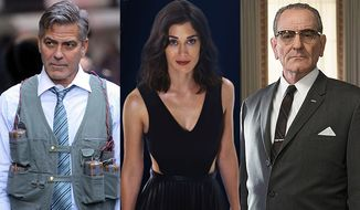 """George Clooney as Lee Gates in """"Money Monster,"""" Lizzy Caplan as Lula May in """"Now You See Me 2"""" and Bryan Cranston as President Lyndon B. Johnson in """"All the Way,"""" all available on Blu-ray."""