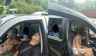 The City of East Liverpool, Ohio, shared two graphic images on Facebook Thursday showing a man and woman overdosing on heroin with a 4-year-old boy in the back of their car. (City of East Liverpool/censoring courtesy of BuzzFeed)