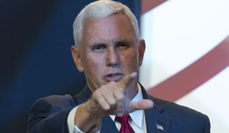 Republican vice presidential candidate Mike Pence speaks at the Value Voter Summit on Saturday. (Associated Press)