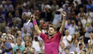 Stan Wawrinka, of Switzerland, reacts after beating Novak Djokovic, of Serbia, to win the men's singles final of the U.S. Open tennis tournament, Sunday, Sept. 11, 2016, in New York. (AP Photo/Julio Cortez)