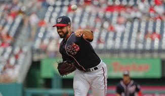 Washington Nationals starting pitcher Gio Gonzalez delivers against the Philadelphia Phillies during the first inning of a baseball game at Nationals Park, Sunday, Sept. 11, 2016, in Washington. (AP Photo/Pablo Martinez Monsivais)