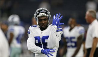 Dallas Cowboys wide receiver Dez Bryant (88) jokes with teammates on the field during warm ups before a preseason NFL football game, Thursday Sept. 1, 2016, in Arlington, Texas. (AP Photo/Roger Steinman)