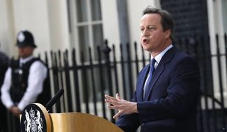 This is a  Wednesday, July 13, 2016, file photo of Britain's Prime Minister David Cameron speaks to the media as he leaves 10 Downing Street, in London, after formally resigning as prime minister. Cameron  announced on Monday, Sept. 12, 2016, that he will step down from his position as a Member of  Parliament. (AP Photo/Frank Augstein)