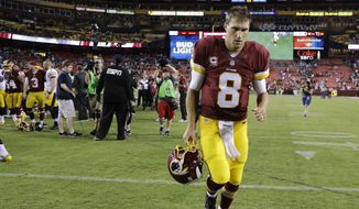 Washington Redskins quarterback Kirk Cousins (8) walks off the field after an NFL football game against the Pittsburgh Steelers in Landover, Md., Monday, Sept. 12, 2016. The Pittsburgh Steelers defeated the Washington Redskins 38-16. (AP Photo/Patrick Semansky)