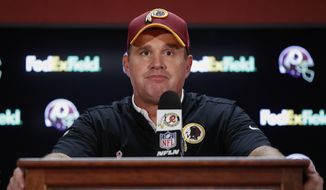 Washington Redskins head coach Jay Gruden listens to questions during a press conference after an NFL football game against the Pittsburgh Steelers in Landover, Md., Monday, Sept. 12, 2016. The Pittsburgh Steelers defeated the Washington Redskins 38-16. (AP Photo/Alex Brandon)