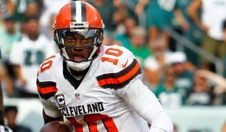 Cleveland Browns quarterback Robert Griffin III runs the ball during the Philadelphia Eagles 29-10 win over the Cleveland Browns at Lincoln Financial Field in Philadelphia, Sunday, Sept. 11, 2016. (Winslow Townson/AP Images for Panini) (credit)
