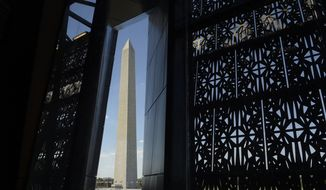 The Washington Monument is framed by a window at the National Museum of African American History and Culture in Washington, Wednesday, Sept. 14, 2016, during a press preview. (AP Photo/Susan Walsh)
