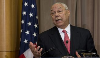 In this file photo taken Sept. 3, 2014, former Secretary of State Colin Powell speaks at the State Department in Washington. Powell, in newly leaked emails, criticized both major presidential candidates, calling Donald Trump a national disgrace and lamenting Hillary Clinton's attempt to equate her email practices with his. (AP Photo/Carolyn Kaster)