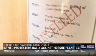 Officials in Newton County, Georgia canceled a meeting Tuesday to discuss lifting a moratorium on construction plans for a mosque after a video surfaced online that they considered threatening. (WXIA)
