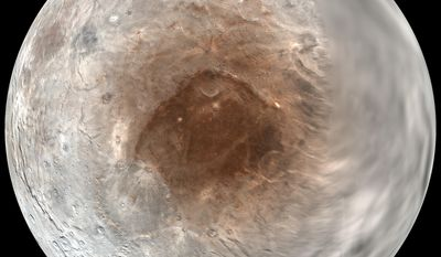 """This image provided by NASA/Johns Hopkins University Applied Physics Laboratory/Southwest Research Institute on Wednesday, Sept. 14, 2016 shows Pluto's moon, Charon, in a mosaic of photographs acquired by the New Horizons spacecraft during its approach to the system from July 7-14, 2016. A new study finds that Pluto is """"spray-painting"""" the red poles of its big moon Charon. The coloration is from Pluto's continually escaping atmosphere and a reaction with solar radiation. (NASA/Johns Hopkins University Applied Physics Laboratory/Southwest Research Institute via AP)"""