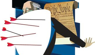 Illustration on defending the Constitution by Linas Garsys/The Washington Times