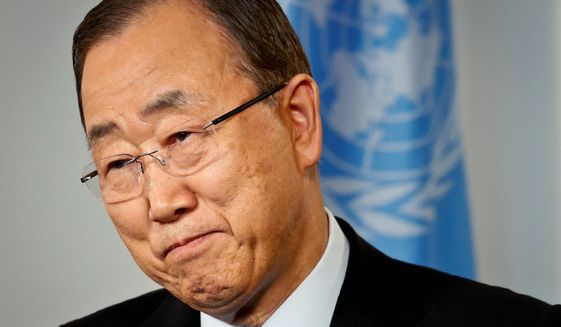 """The debate on science and the debate on politics as far as climate change is concerned is over,"" U.N. Secretary-General Ban Ki-moon said. ""Still, the Republican Party, they are not convinced."" (Associated Press)"